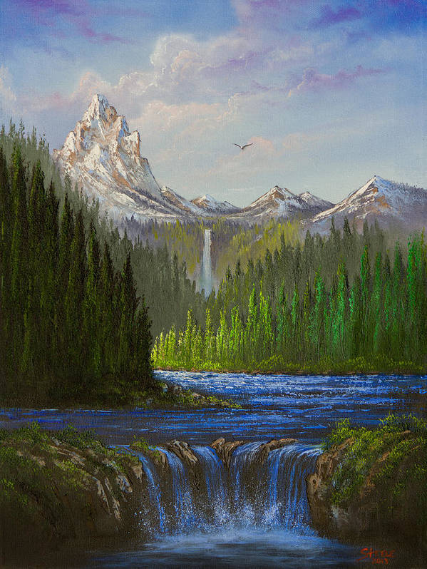 Landscape Print featuring the painting Spring In The Rockies by C Steele