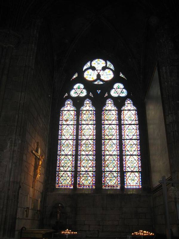 Stained Art Print featuring the photograph Stained Glass Of The Notre Dame by Angela Rose