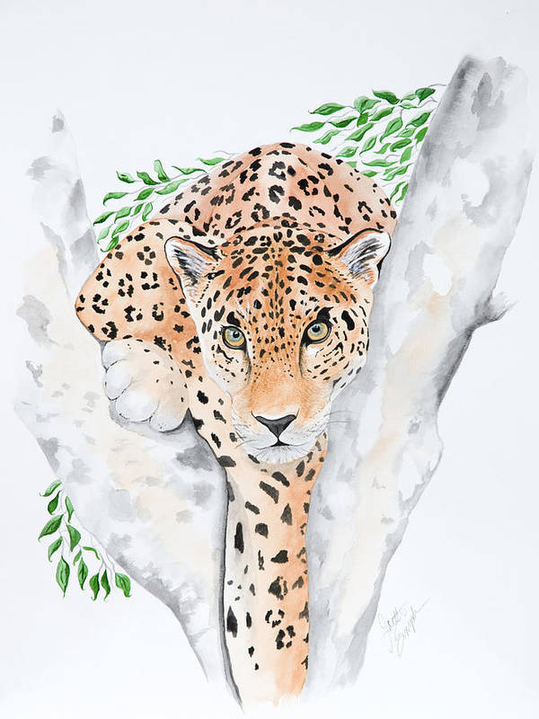 Joette Snyder Art Print featuring the painting Stalker In The Trees by Joette Snyder