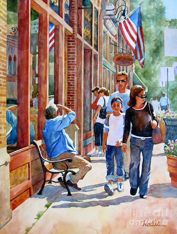 Watercolor Art Print featuring the painting Stillwater Shoppers by Wendy Westlake
