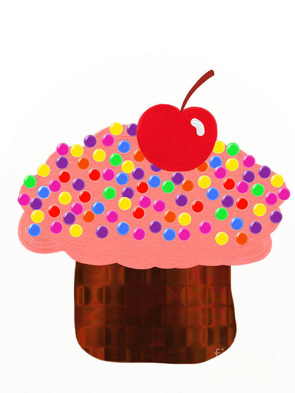 Strawberry Cupcake Print featuring the digital art Strawberry Cupcake by Andee Design
