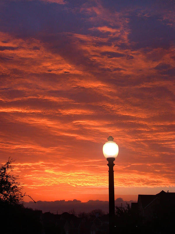 Streetlight Art Print featuring the photograph Streetlight Sunset Texas by Tony Ramos