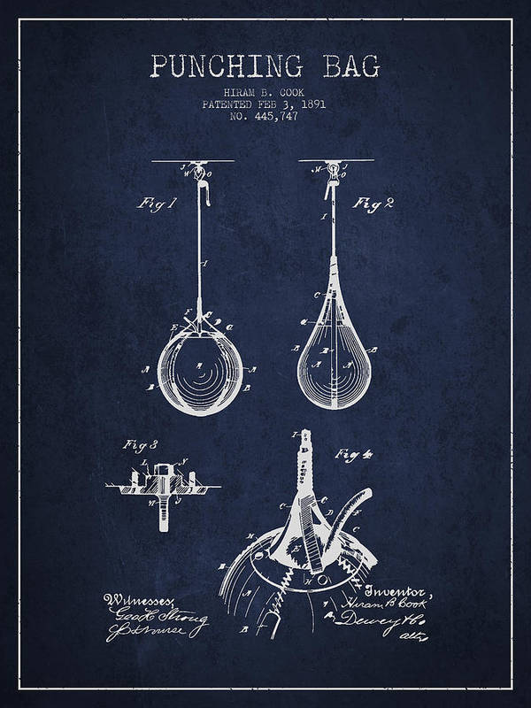 Punching Bag Art Print featuring the drawing Striking Bag Patent Drawing From1891 by Aged Pixel