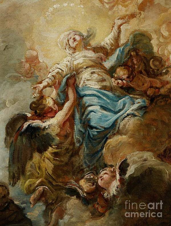 Study; Painting; Sketch; Assumption; Virgin; Virgin Mary; Mother Of God; Clouds; Angels; Cherubs; Putti; Heaven; Sky; Biblical; Christian; New Testament; Halo; Saint; Angel; Celestial; Earthly; Men; Kneeling; Upwards; Rising; Study; Painting; Sketch; Assumption; Virgin; Virgin Mary; Mother Of God; Clouds; Angels; Cherubs; Putti; Heaven; Sky; Biblical; Christian; New Testament; Halo; Saint; Angel; Celestial; Earthly; Men; Kneeling; Upwards; Rising; Madonna Art Print featuring the painting Study For The Assumption Of The Virgin by Jean Baptiste Deshays de Colleville