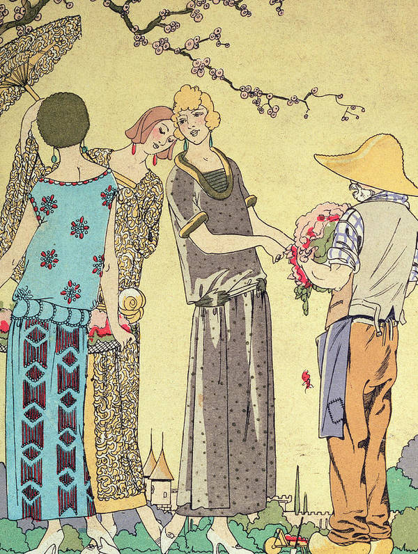 Design; Dresses; Female; Shirt-waister; Pose; Country Setting; Male; Rustic; Parasol; Twenties; 20s; 1920s Print featuring the painting Summertime Dress Designs By Paul Poiret by French School