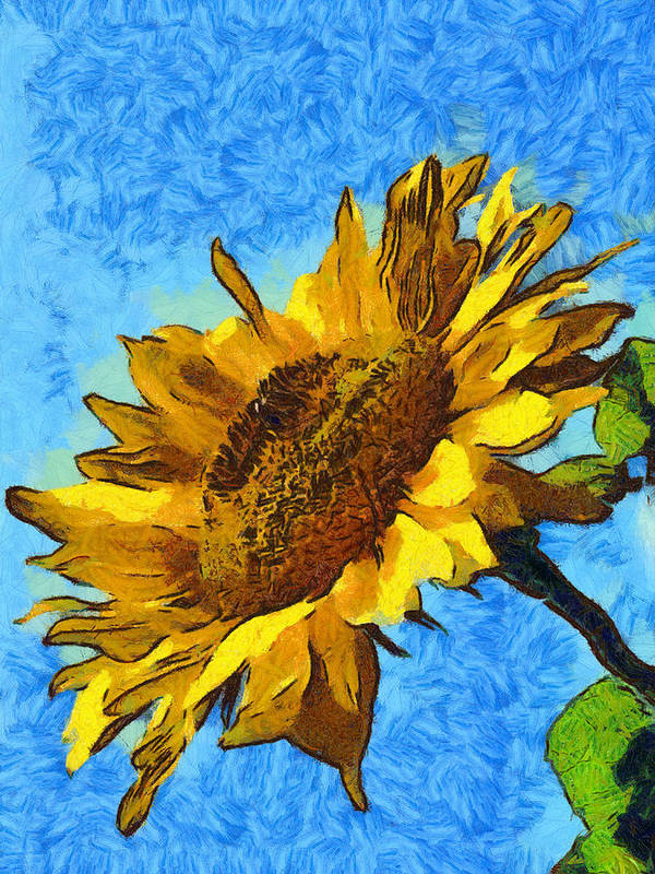 Sunflower Abstract Print featuring the digital art Sunflower Abstract by Unknown