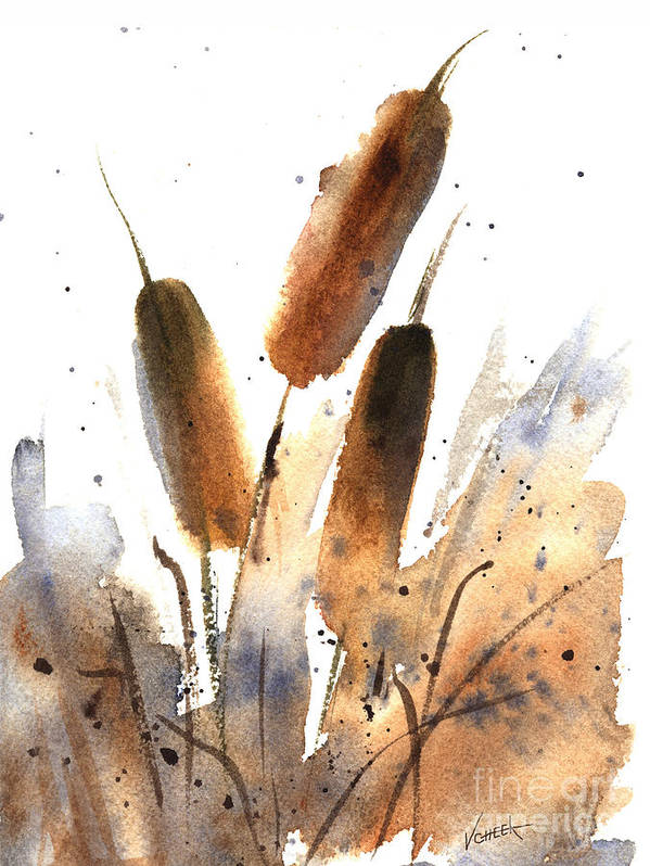 Art Art Print featuring the painting Sunlit Cattails by Vickie Sue Cheek