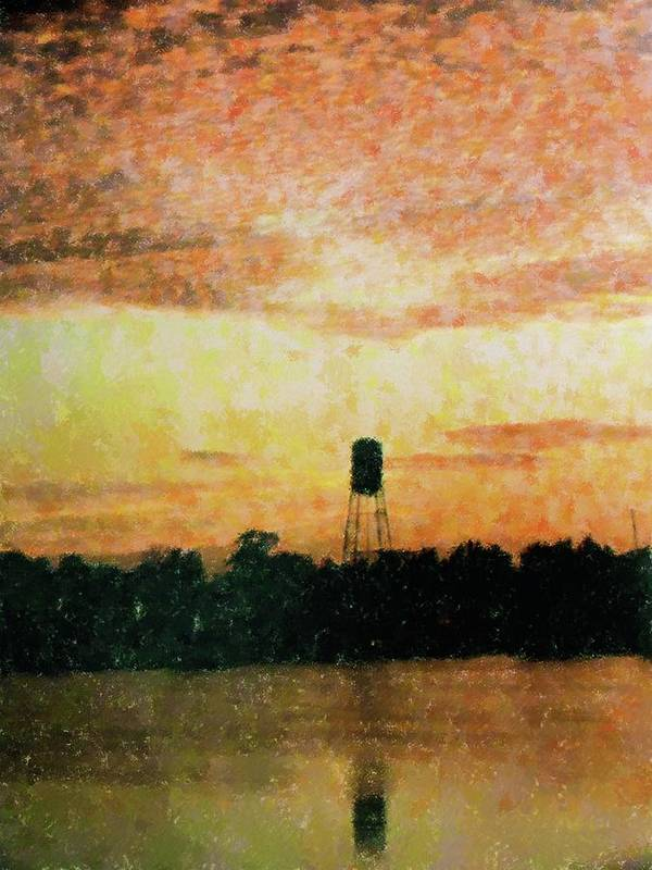 Landscape Art Print featuring the mixed media Sunset Over Tarpon Springs by Florene Welebny