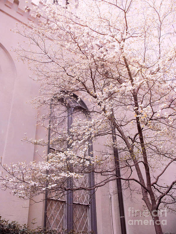 Nature Photography Art Print featuring the photograph Surreal Dreamy Church Window With Pink Trees by Kathy Fornal