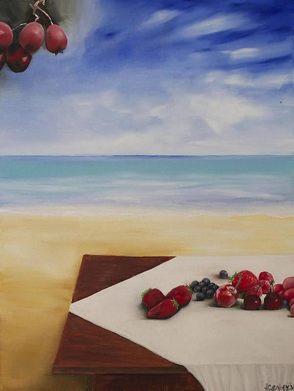 Berries Art Print featuring the painting Table At The Beach by John Sabey Jr