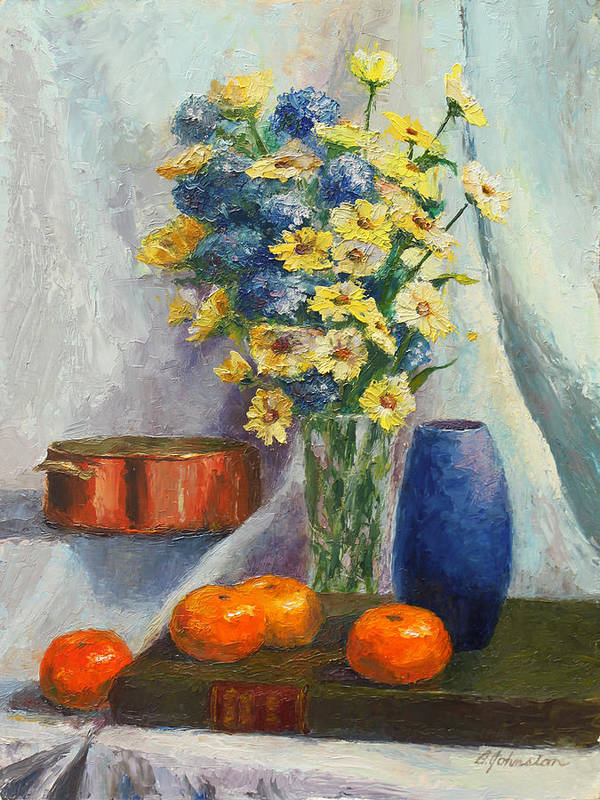 Tangerines Art Print featuring the painting Tangerines And Tome by Beth Johnston