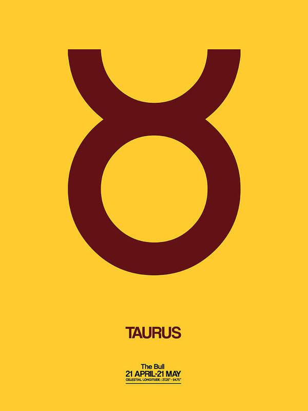 Taurus Zodiac Sign Brown Art Print By Naxart Studio
