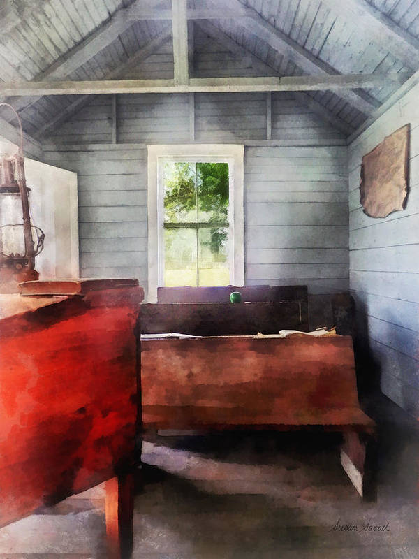 Classroom Art Print featuring the photograph Teacher - One Room Schoolhouse With Hurricane Lamp by Susan Savad
