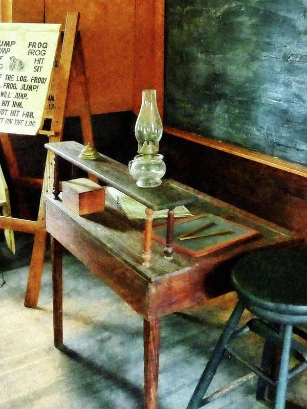 Teacher Art Print featuring the photograph Teacher - Teacher's Desk With Hurricane Lamp by Susan Savad