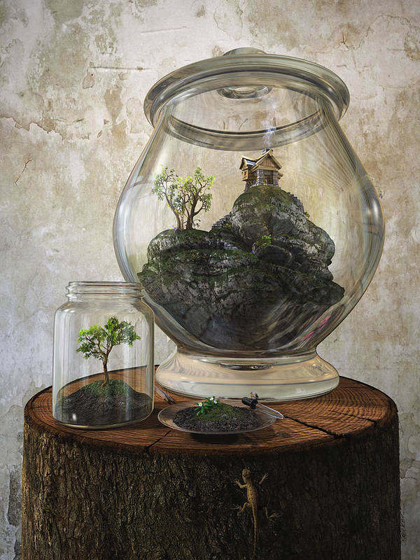 Jar Art Print featuring the digital art Terrarium by Cynthia Decker