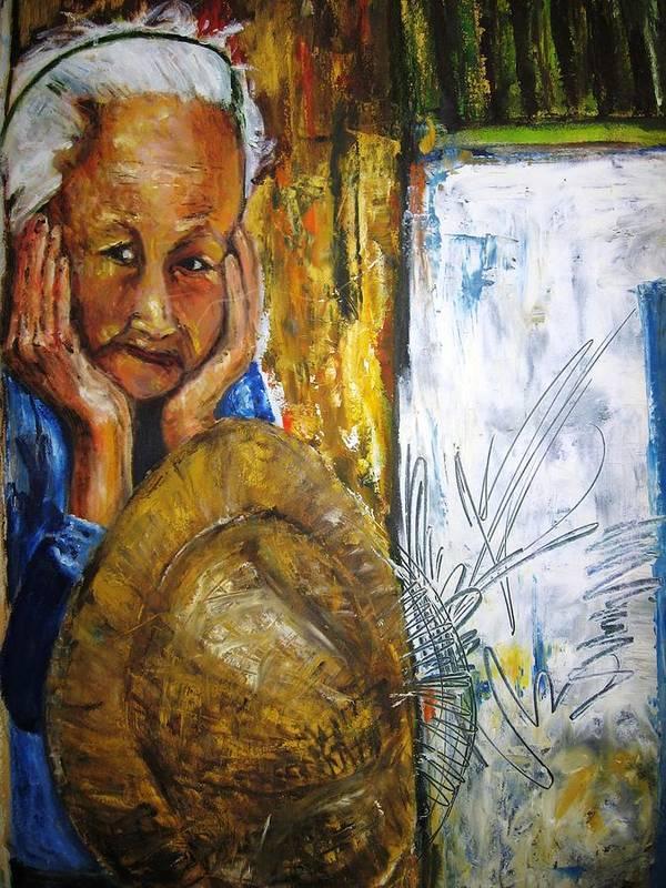 Thai Art Print featuring the painting Thai Woman by Doris Cohen