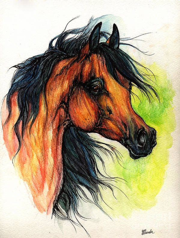 Horse Art Print featuring the painting The Bay Arabian Horse 11 by Angel Ciesniarska