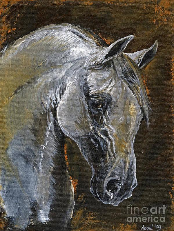 Grey Horse Art Print featuring the painting The Grey Arabian Horse Oil Painting by Angel Ciesniarska