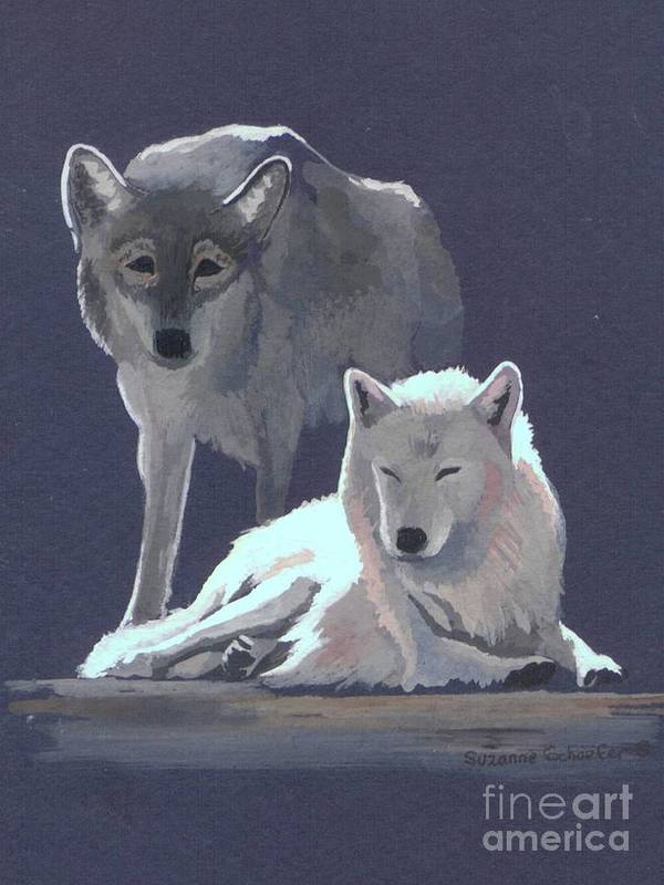 Wolves Art Print featuring the painting The Guardian by Suzanne Schaefer