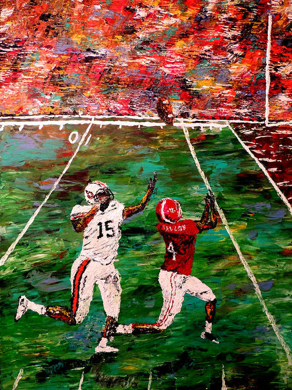 Alabama Art Print featuring the painting The Longest Yard - Alabama Vs Auburn Football by Mark Moore