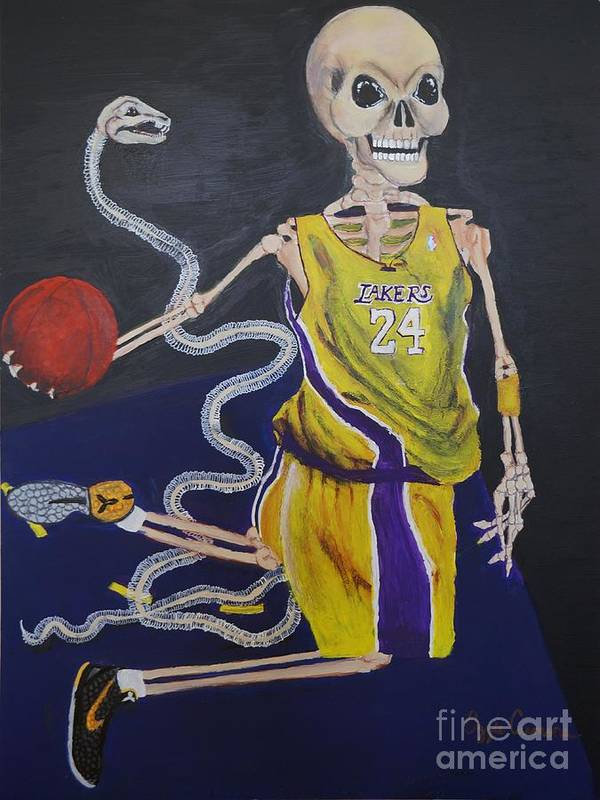 Day Of The Dead Art Print featuring the painting The Mamba Strikes by Visual Renegade Art
