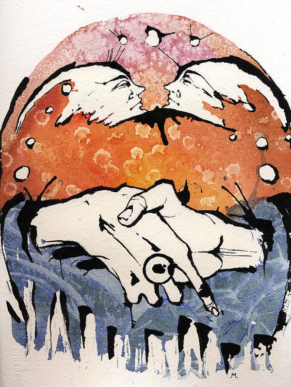 Hands Art Print featuring the painting The Meeting by Mark M Mellon