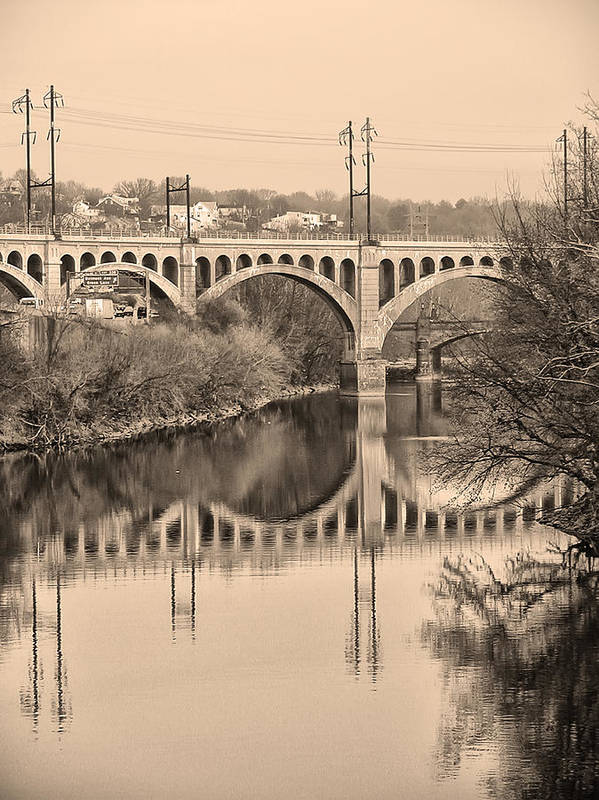 Schuylkill Art Print featuring the photograph The Schuylkill River And Manayunk Bridge In Sepia by Bill Cannon
