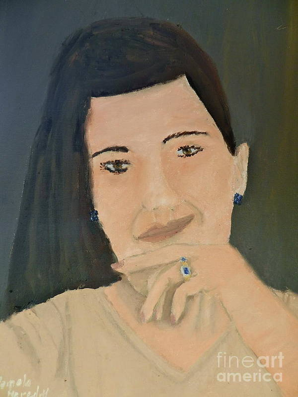Portrait Art Print featuring the painting Thinking Of What To Do Next by Pamela Meredith
