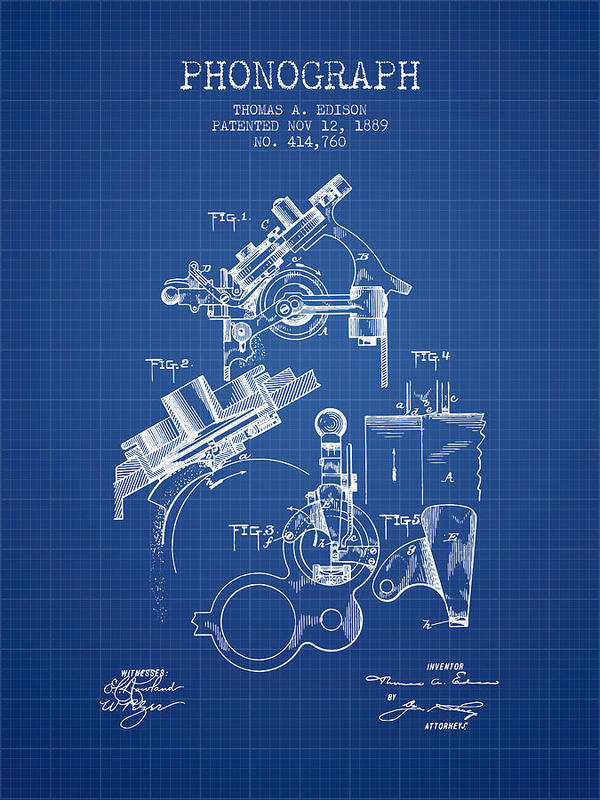 Thomas Edison Phonograph Patent From 1889 - Blueprint Art
