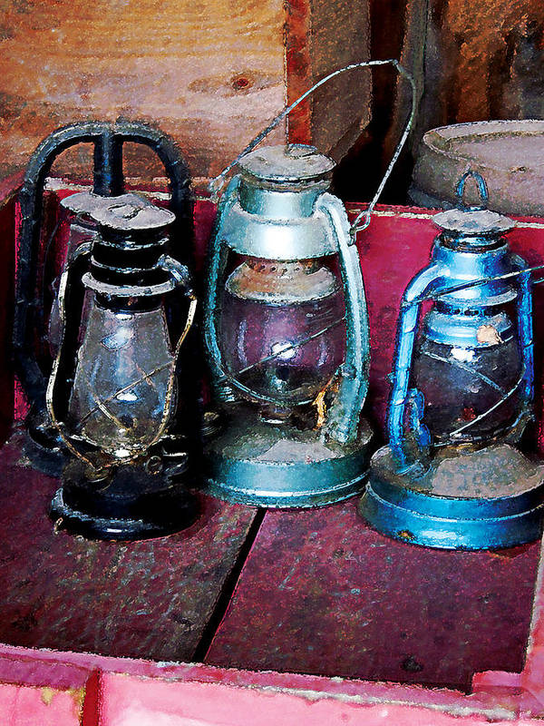 Lamp Art Print featuring the photograph Three Kerosene Lamps by Susan Savad