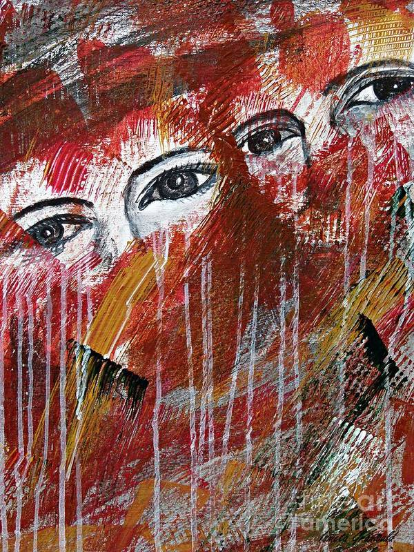 Abstract Art Print featuring the painting Together- Abstract Art by Ismeta Gruenwald