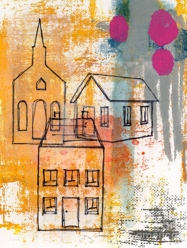 Abstract Art Print featuring the painting Town Square by Linda Woods