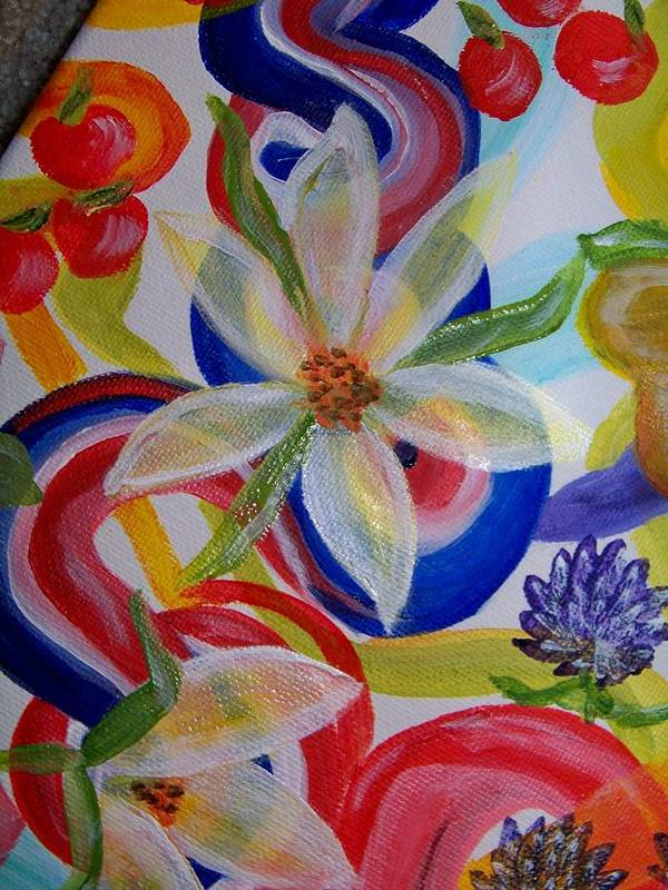 Flowers Art Print featuring the painting Translucent Flowers by Kathern Welsh