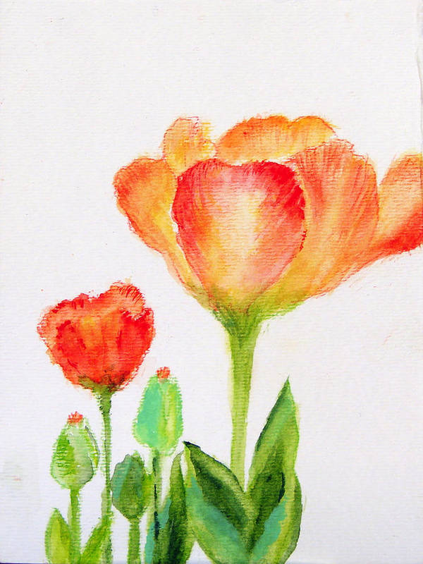 Floral Art Print featuring the painting Tulips Orange And Red by Ashleigh Dyan Bayer