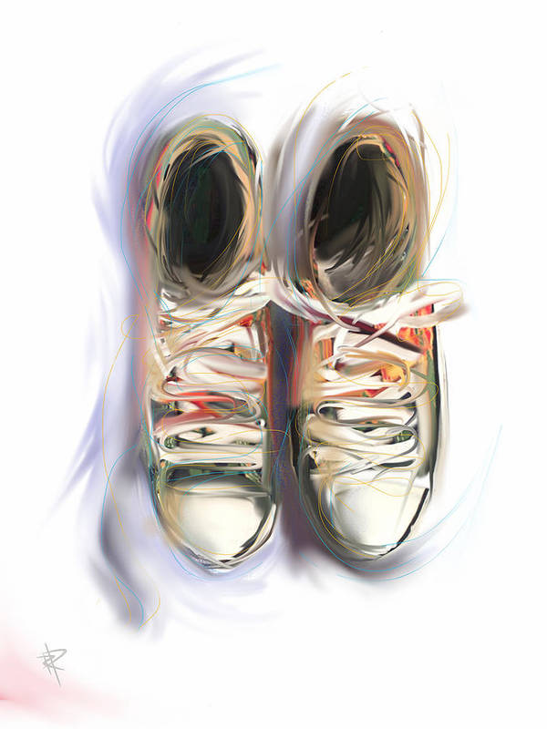 Sneaker Art Print featuring the mixed media Two Friends by Russell Pierce