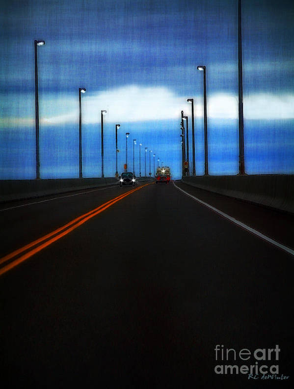 Cars Art Print featuring the painting Two-lane Blacktop by RC DeWinter