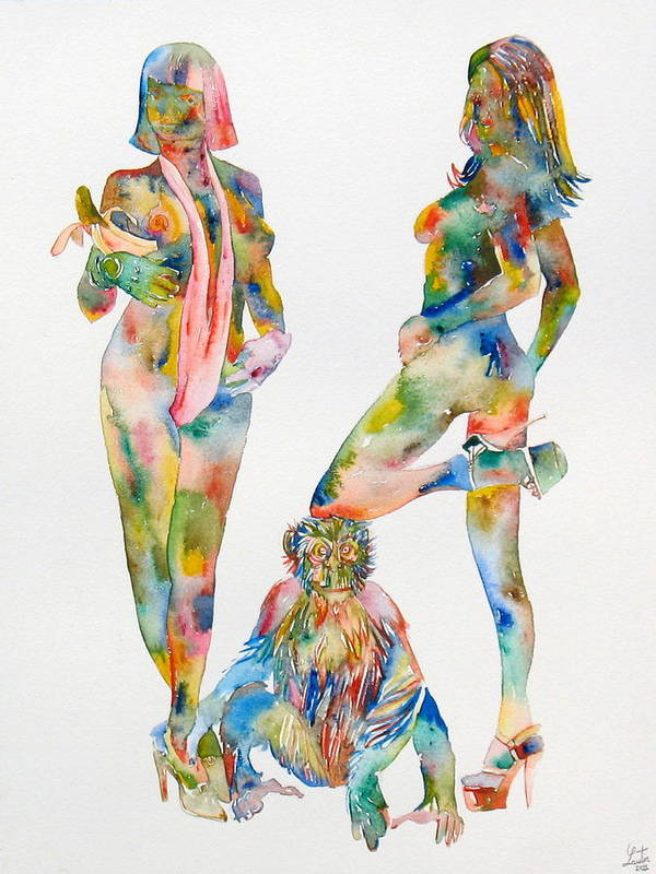 Girl Print featuring the painting Two Psychedelic Girls With Chimp And Banana Portrait by Fabrizio Cassetta
