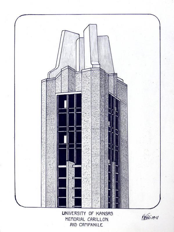 Kansas University Buildings Drawings Art Print featuring the drawing University Of Kansas by Frederic Kohli