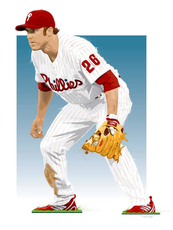 Chase Utley Art Print featuring the digital art Utley In The Ready by Scott Weigner