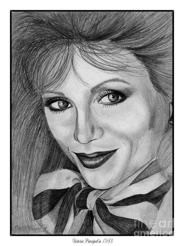 Victoria Principal Art Print featuring the drawing Victoria Principal In 1983 by J McCombie