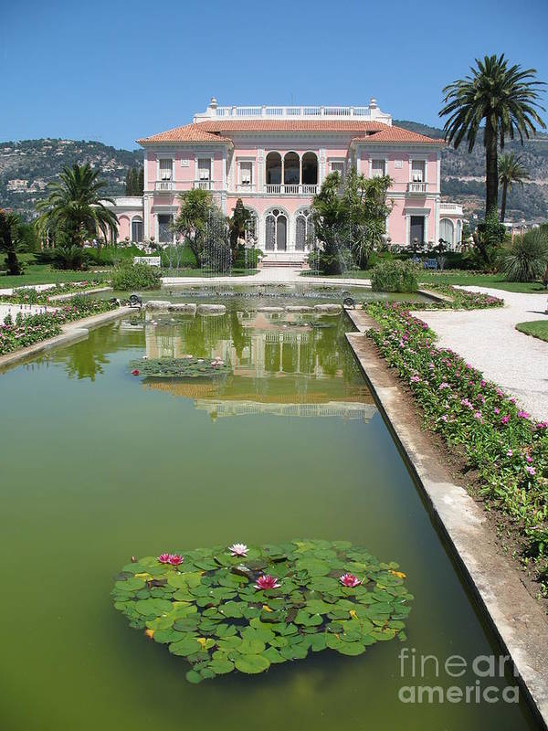 Villa Art Print featuring the photograph Villa Ephrussi De Rothschild With Reflection by Christiane Schulze Art And Photography