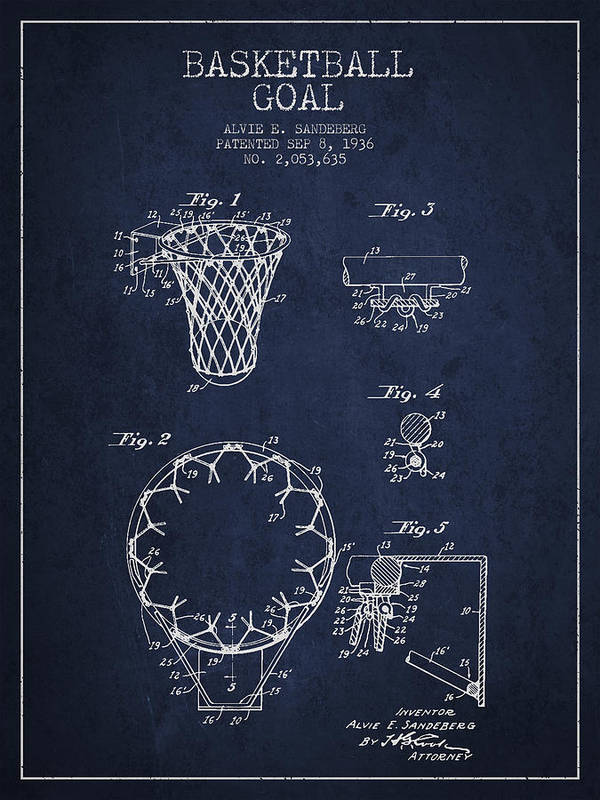 Hoop Patent Art Print featuring the drawing Vintage Basketball Goal Patent From 1936 by Aged Pixel