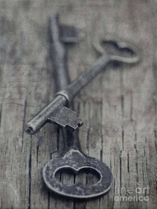 Keys Art Print featuring the photograph Vintage Keys by Priska Wettstein