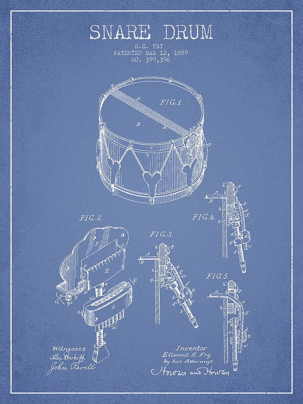 Snare Drum Print featuring the drawing Vintage Snare Drum Patent Drawing From 1889 - Light Blue by Aged Pixel