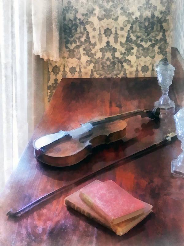 Violin Art Print featuring the photograph Violin On Credenza by Susan Savad