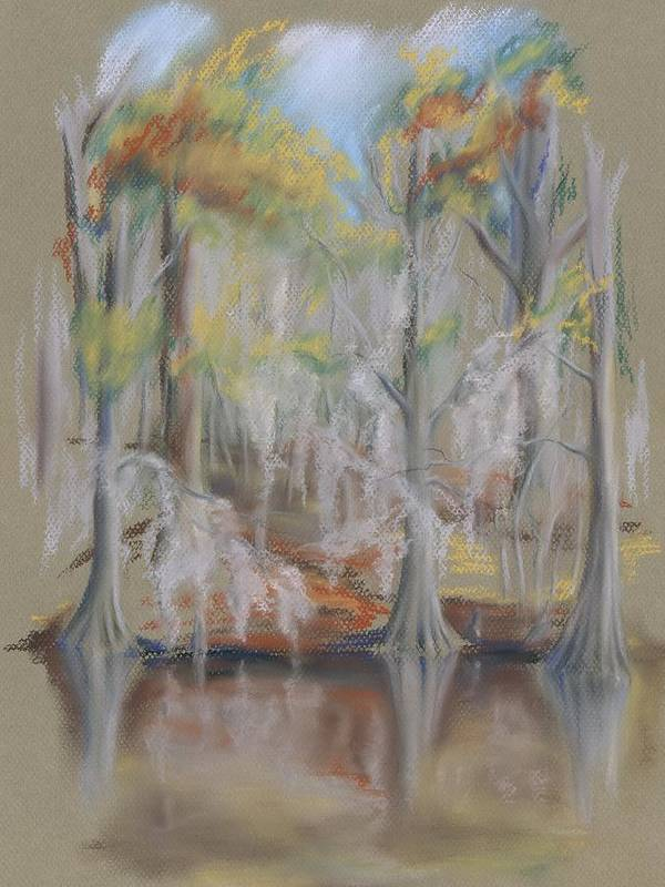 Landscape Art Print featuring the pastel Waccamaw River Impressions by MM Anderson