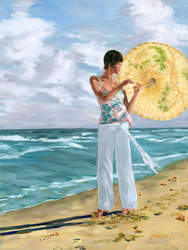 Woman Art Print featuring the painting Walk On The Beach by Joe Chicurel