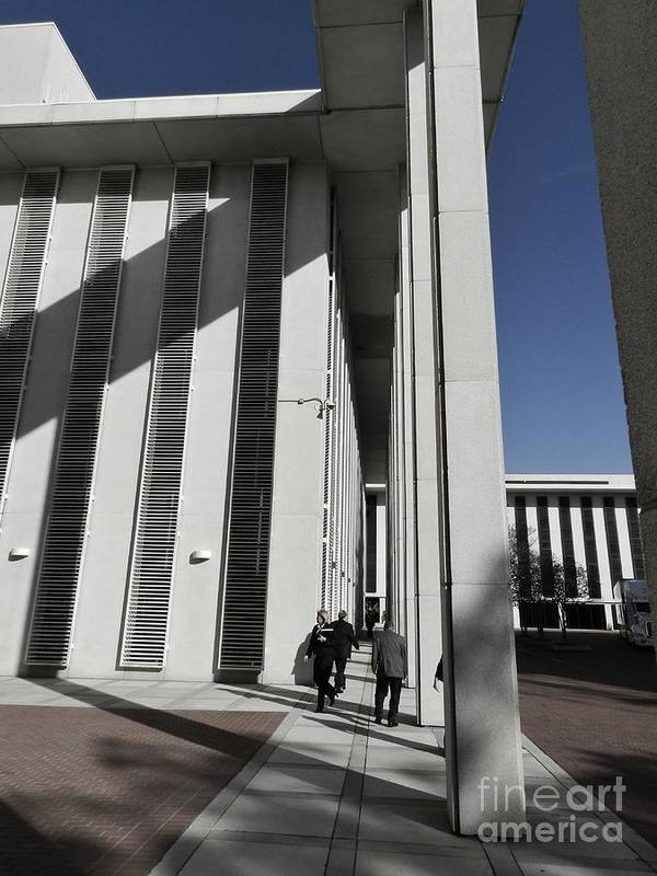 Walking Art Print featuring the photograph Walking Outside The Florida Capitol by Robert Ulmer