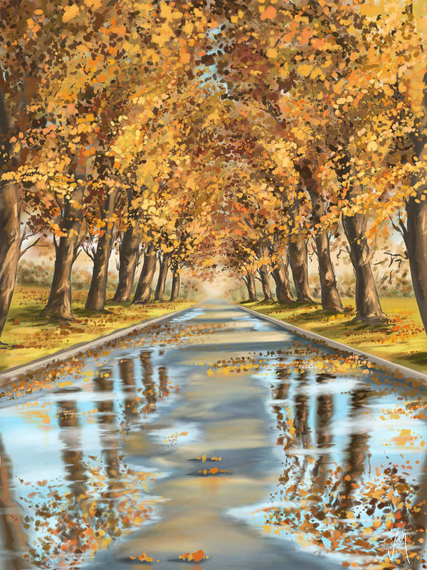 Autumn Art Print featuring the painting Walking by Veronica Minozzi