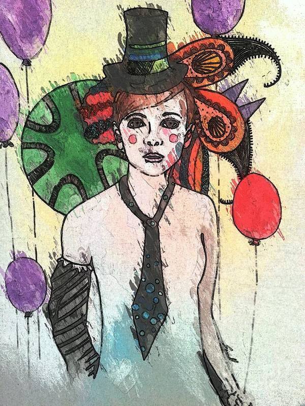Clown Art Print featuring the painting Water Clown by Amy Sorrell